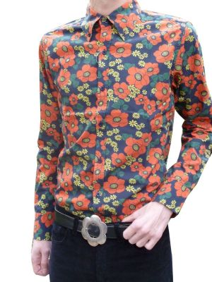 Mens Flower SHIRT 60's Psychedelic Mod -  Red Floral Poppies